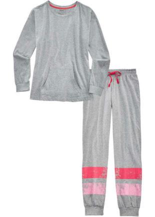 Ciepła długa piżama damska w szare paski z paseczkami