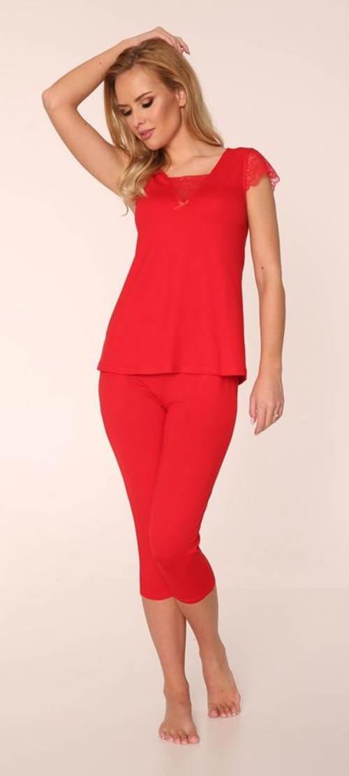 Czerwona damska piżama capri