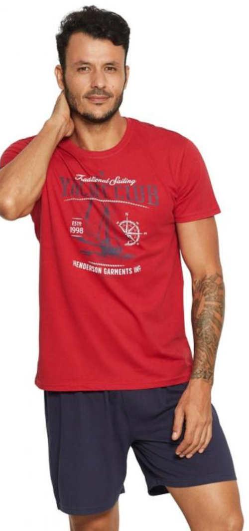 Czerwono-niebieska piżama męska Henderson z t-shirtem z krótkim rękawem