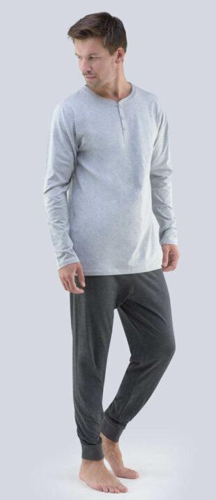 Męska dzianinowa piżama z długimi rękawami