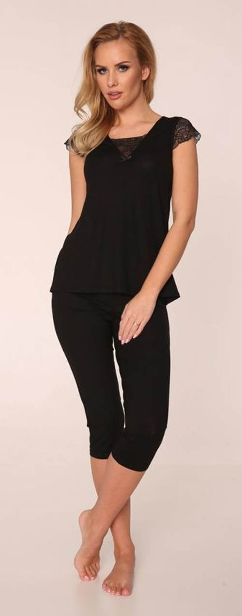 Solidna czarna piżama damska