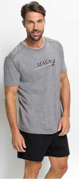 Tania męska koszulka piżamowa z krótkim rękawem i spodenkami