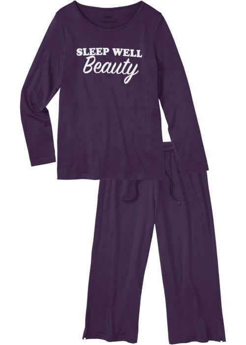Fioletowa piżama damska z nadrukiem