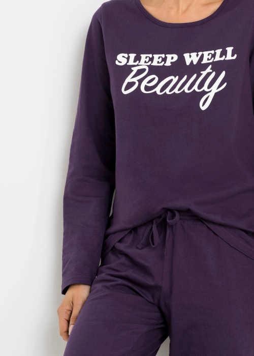 Fioletowa piżama z nadrukiem z przodu