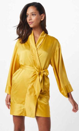 Krótki żółty szlafrok damski z dużą kokardką