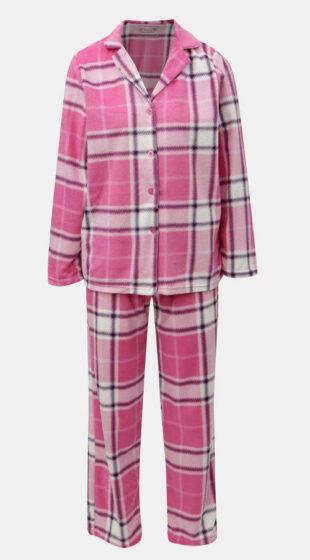 Różowa piżama damska w kratę