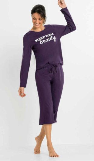 Stylowa damska piżama capri z napisem z przodu