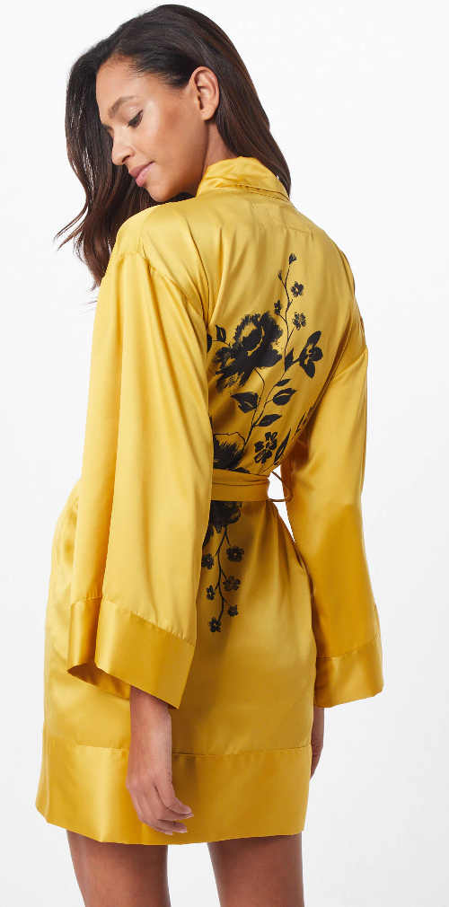 Żółty szlafrok damski z kwiatowym nadrukiem na plecach