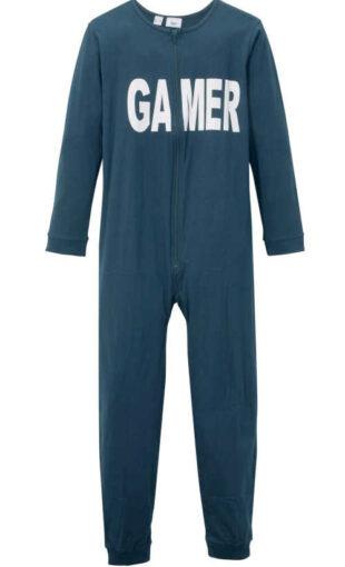 Chłopięcy długi bawełniany kombinezon piżamowy z napisem