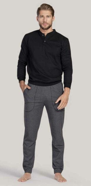 Długa nowoczesna piżama męska w luksusowym stylu