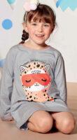 Koszula nocna dla dziewczynki z śpiącym kotem