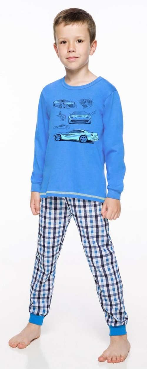 Niebieska piżama chłopięca z samochodami sportowymi