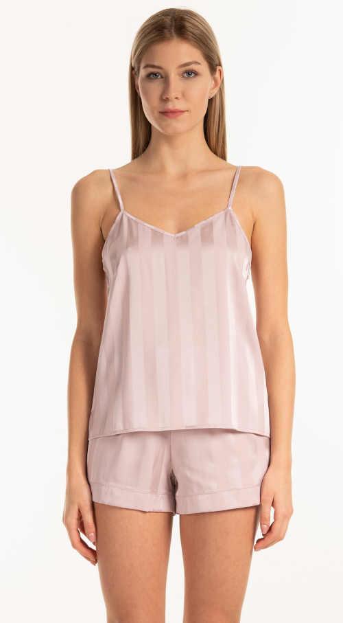 Nowoczesny top piżamowy na ramiączkach wykonany z przyjemnej satyny