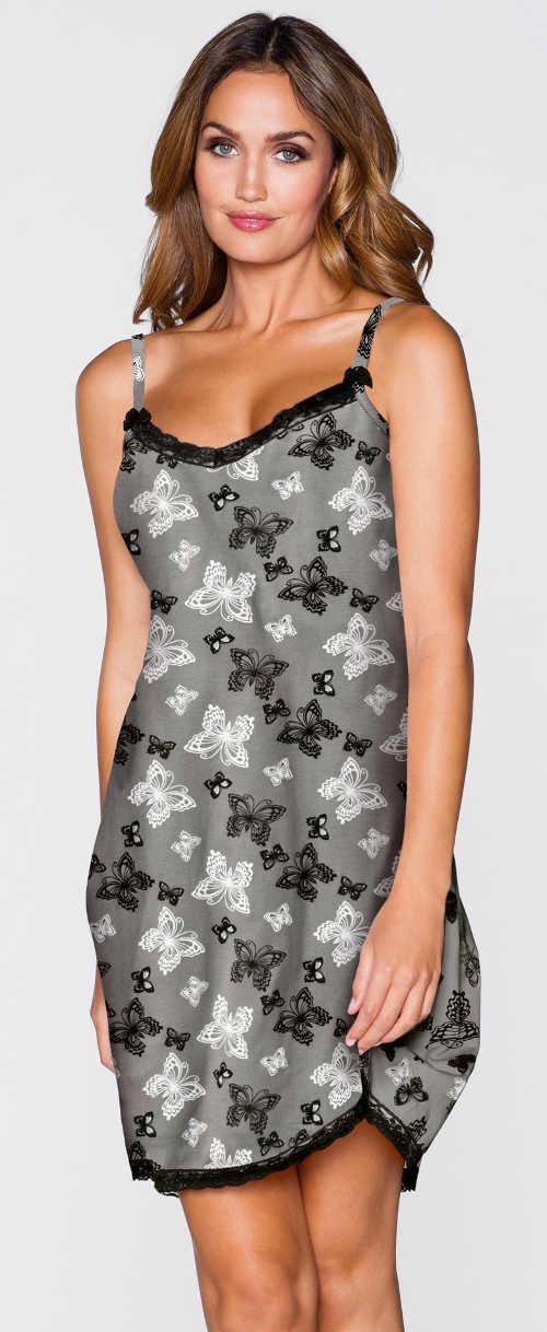 Szara koszula nocna damska z wąskimi, regulowanymi ramiączkami