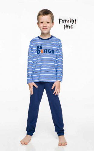Bawełniana długa piżama dziecięca w kolorze niebieskim lub szarym