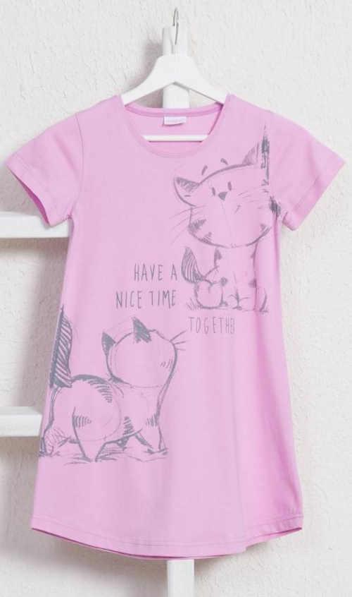 Bawełniana koszula nocna dla dzieci z wesołym nadrukiem kota