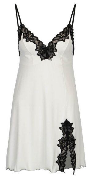 Biała haleczka damska ozdobiona czarną koronką o kwiatowym wzorze