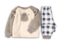 Ciepła piżama niemowlęca polarowa miś z kraciastymi spodniami