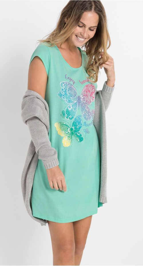 Damska koszula nocna z kolorowym nadrukiem motyli