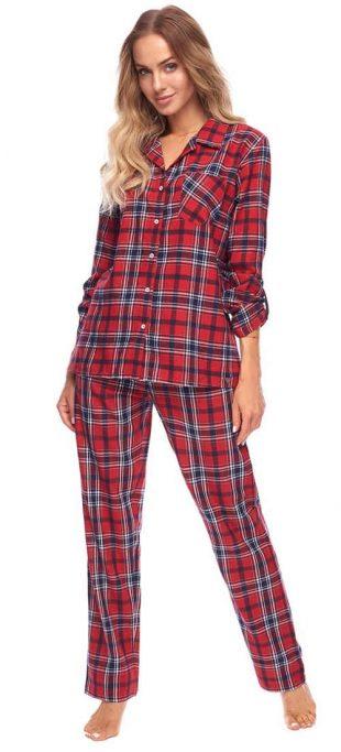 Flanelowa piżama damska w kratę z zapięciem na guziki