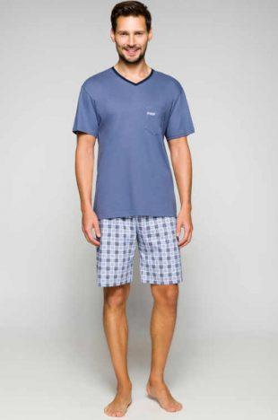 Krótka stylowa piżama męska wykonana z wygodnego materiału bawełnianego