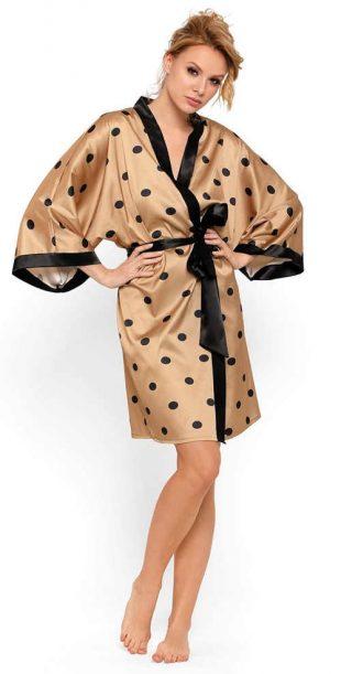 Luksusowe satynowe szlafroki kimono w kropki