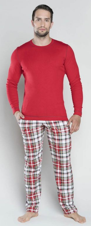 Męska czerwona włoska piżama