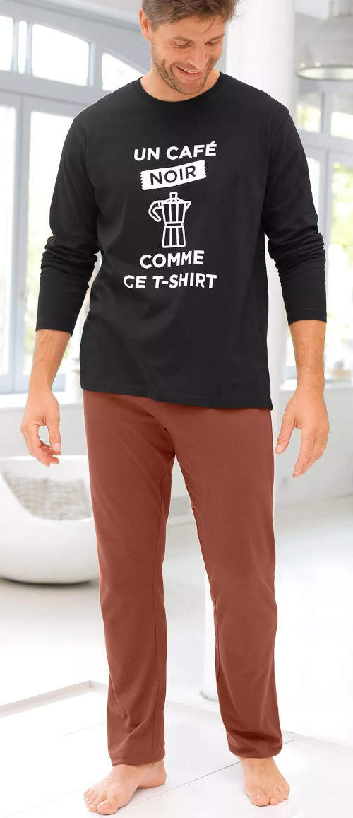 Męska dwukolorowa długa piżama z francuskim napisem