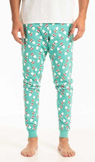 Męskie bawełniane spodnie piżamowe z wesołym motywem świątecznym