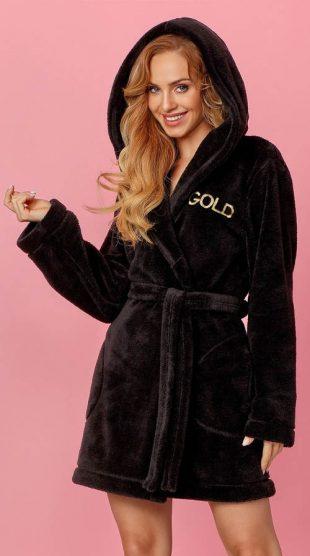 Modny czarny szlafrok damski z mikropolaru