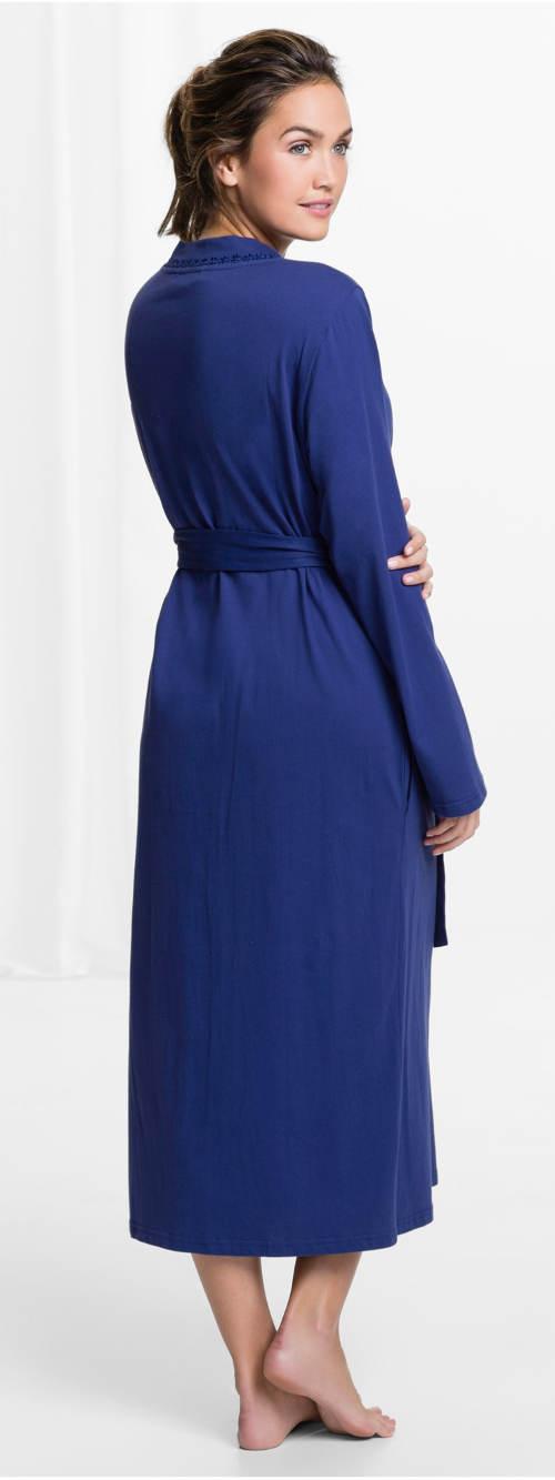 Niebieski szlafrok damski z przezroczystymi kieszeniami