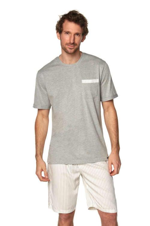 Stylowa piżama męska z krótkim rękawem i spodniami