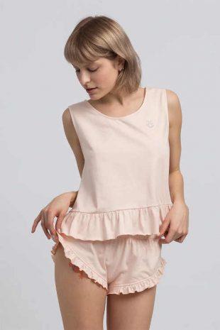 Damska bawełniana bluzka piżamowa bez rękawów z falbankami