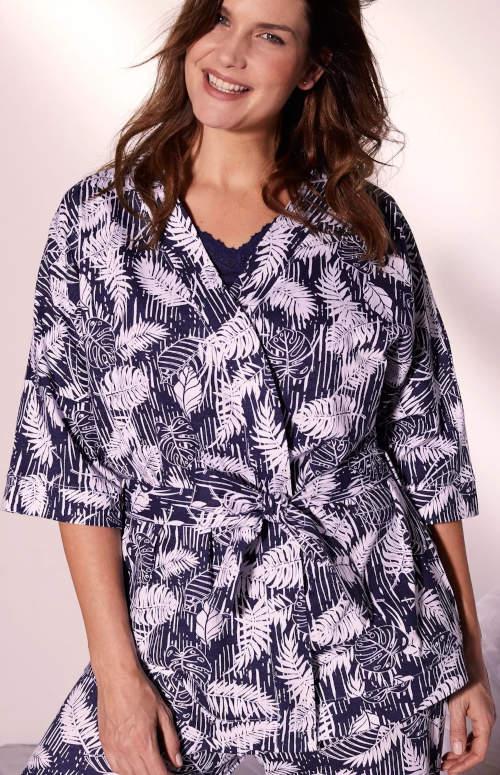 Krótki szlafrok damski kimono z tropikalnym wzorem