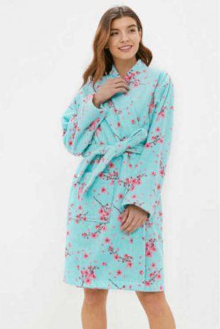 Luksusowy szlafrok damski z bawełny z długimi rękawami
