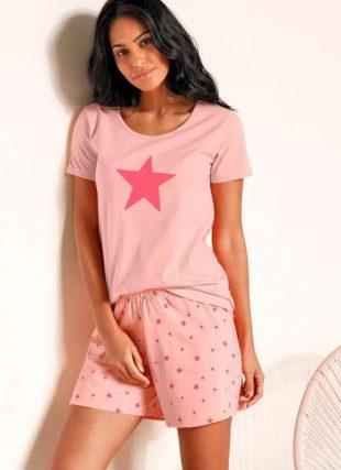 Zestaw 2 piżam damskich z szortami i nowoczesnym nadrukiem